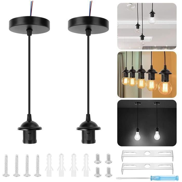 Douille de Lampe Suspension 2 Pcs Support de Lampe Porte-Lampe E27 Base de Lampe Vintage avec Câble Électrique Monture