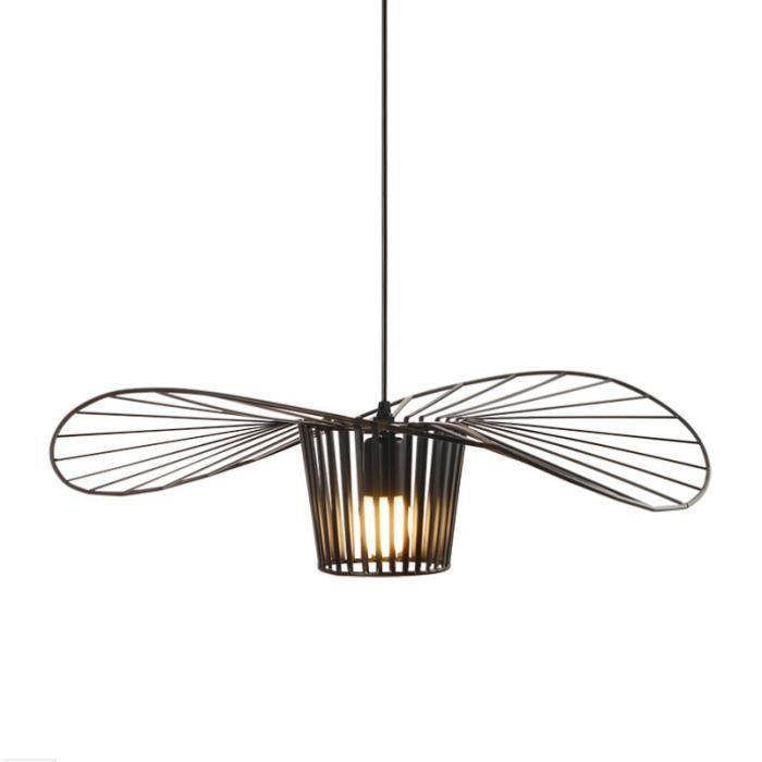 UNI 60cm Luminaire Suspension Industrielle Métal Lustre Industrielle Plafonnier Vintage Lustre Noir