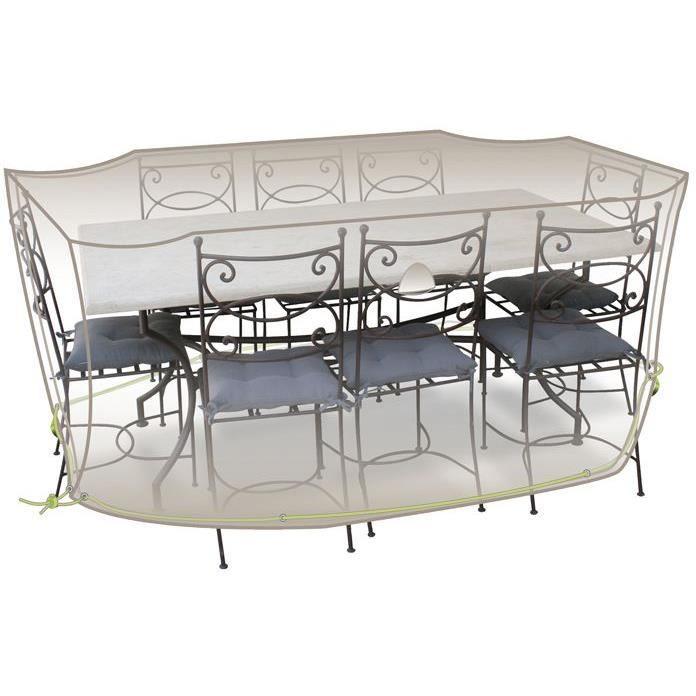 Housse table rectangle + chaises - 8 à 10 personnes - gris mastic