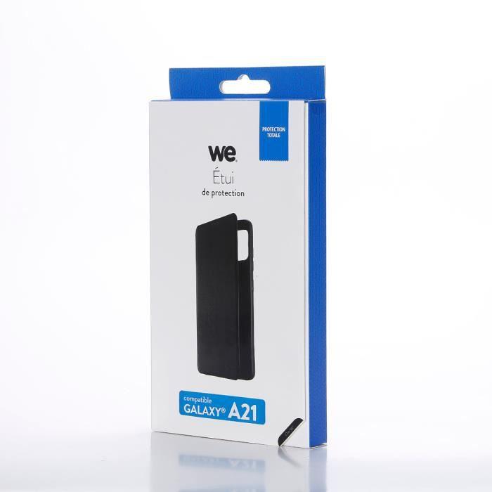 Etui de protection WE noir pour smartphone Samsung Galaxy A21 Résistant aux chocs et chûtes. Accès caméra et multi-position.
