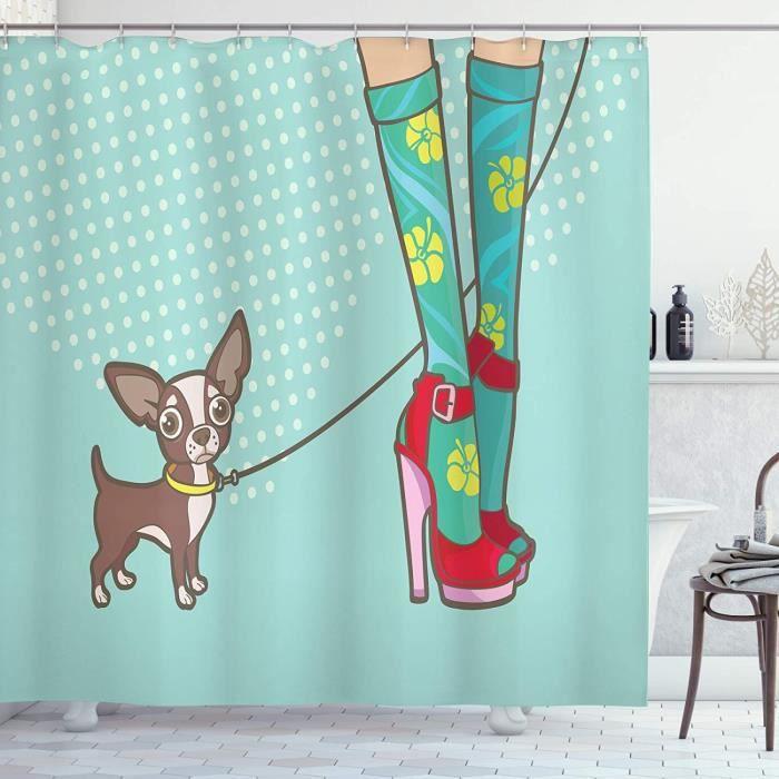 Talons Hauts Rideau de Douche, Chaussettes drôle Talons Puppy, Tissu Ensemble de Décor de Salle de Bain avec Croche 175x180cm[2821]