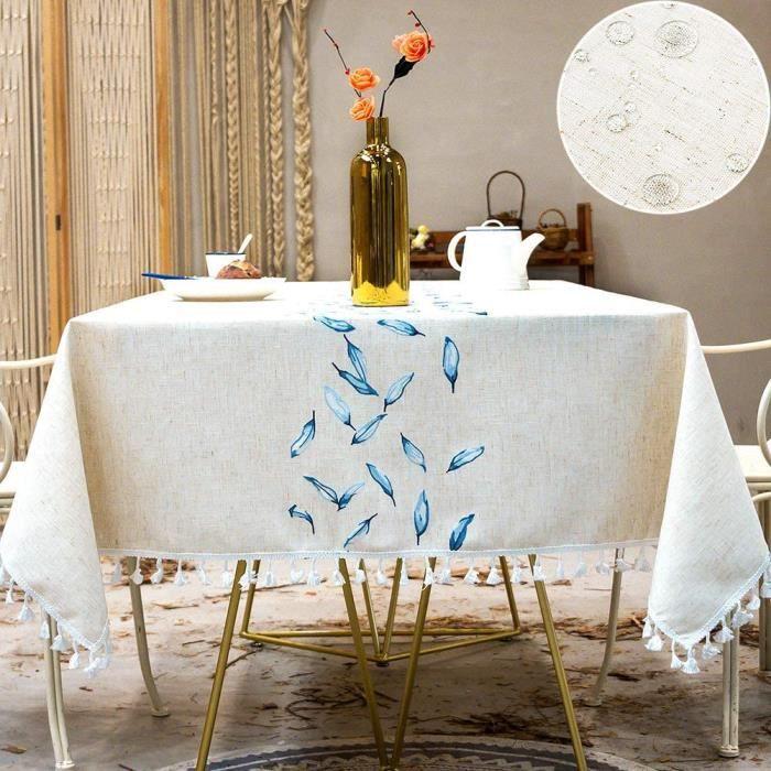 SUNBEAUTY Table Cloth Waterproof Nappe Rectangulaire Imperméable Lin Coton Tablecloth Rectangle 140x220 cm Tassel Nappe Elegante