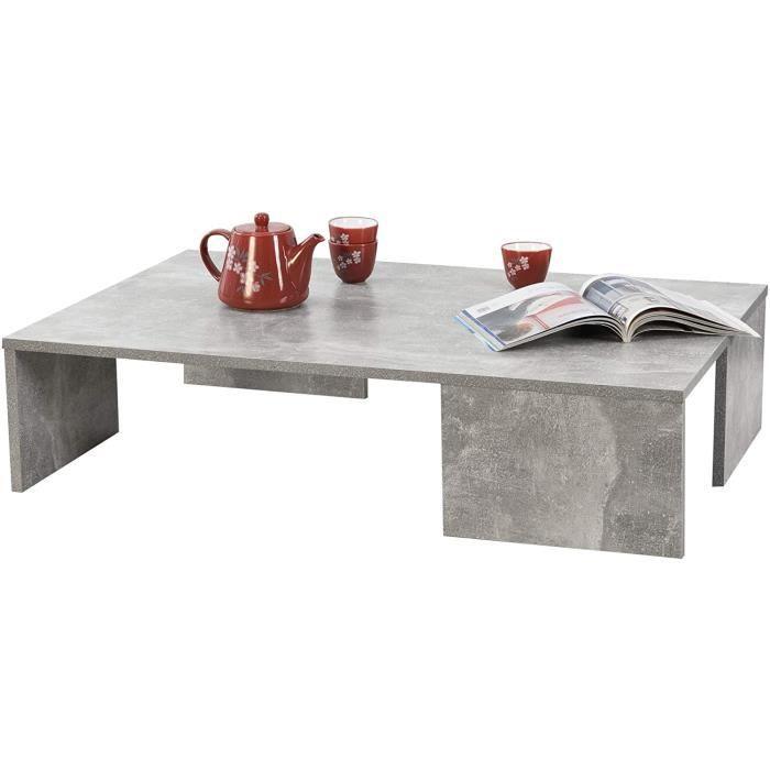 Table Basse Rectangulaire pour Salon Meuble Design en Panneau de Particules Mélaminé 21 x 90 x 60 cm Effet Béton 697
