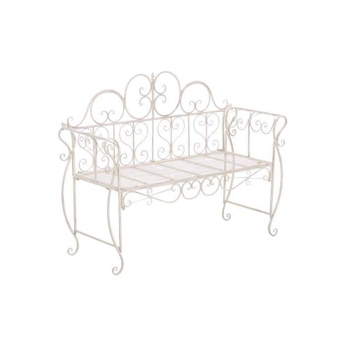 CLP Banquette de jardin antique MINNA, en fer forgé laqué robuste, style nostalgique, 123 x 46 cm, 5 couleurs au choix94 cm - ant...