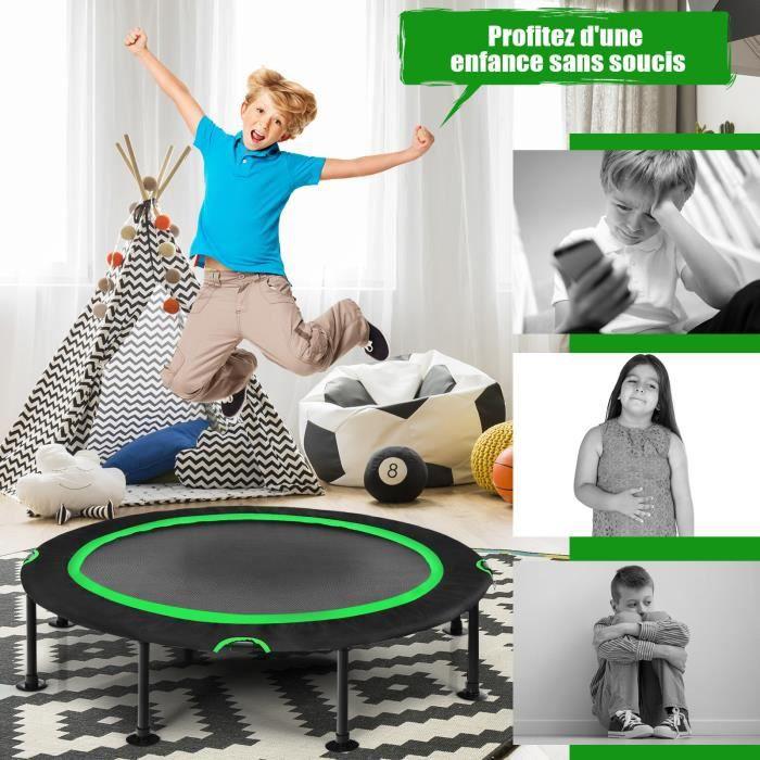 COSTWAY Trampoline de Fitness Pliable 120CM Charge 65kg avec 8 Ventouses Antidérapants Cordons Elastiques Exterieur/Interieur Vert
