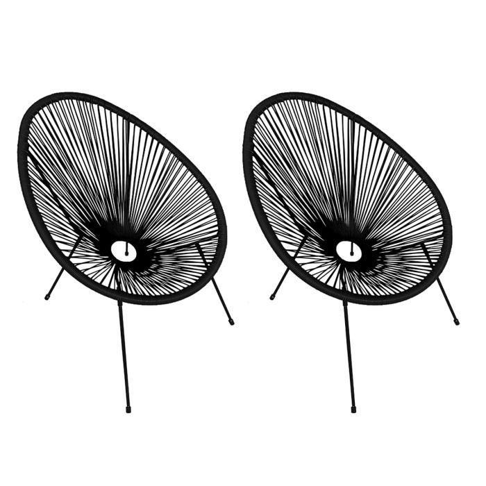 Lot de 2 fauteuils oeuf ACAPULCO noir