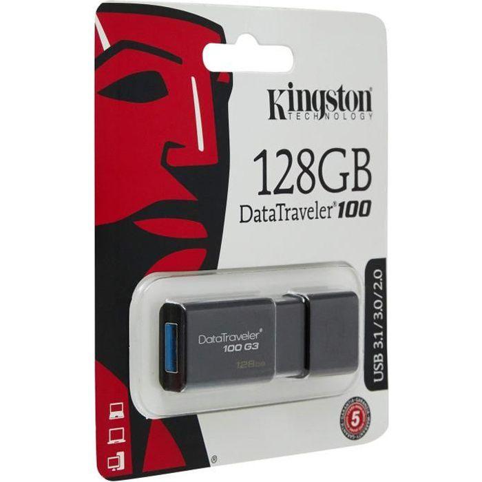 Kingston Dt100g3/128Gb Datatraveler 100 G3, Usb 3.0, 3.1 Flash Drive, 128 Gb, Noir