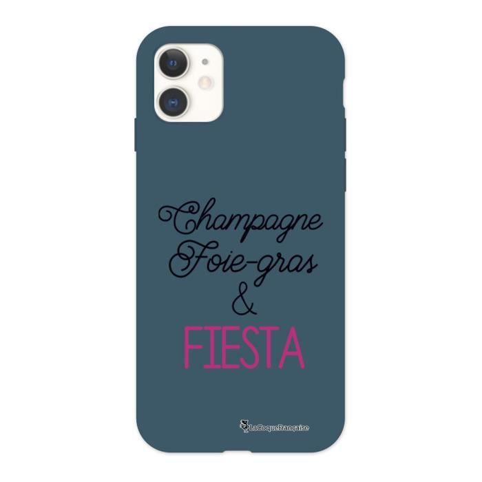 Coque iPhone 11 Silicone Liquide Douce bleu nuit Champagne Foie gras et Fiesta Ecriture Tendance et Design La Coque Francaise