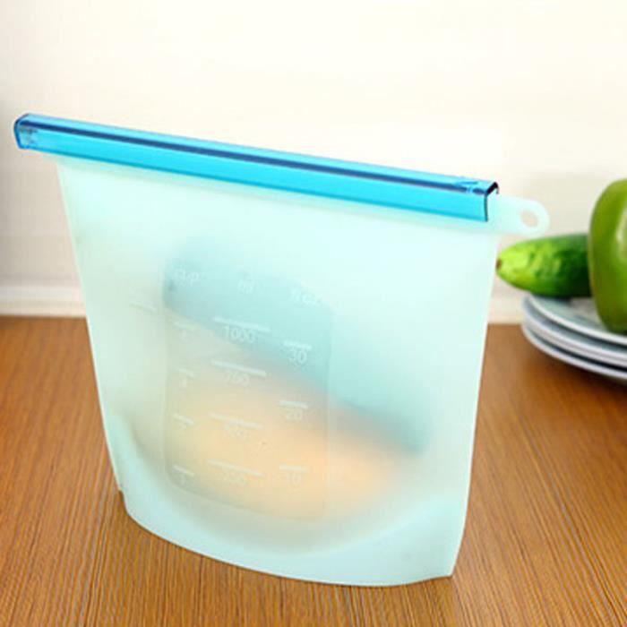 4 sacs 4000 ml Silicone frais sac a legumes de Accueil Aliments Sealing Stockage d'aliments en Silicone Réutilisable, Sachet de