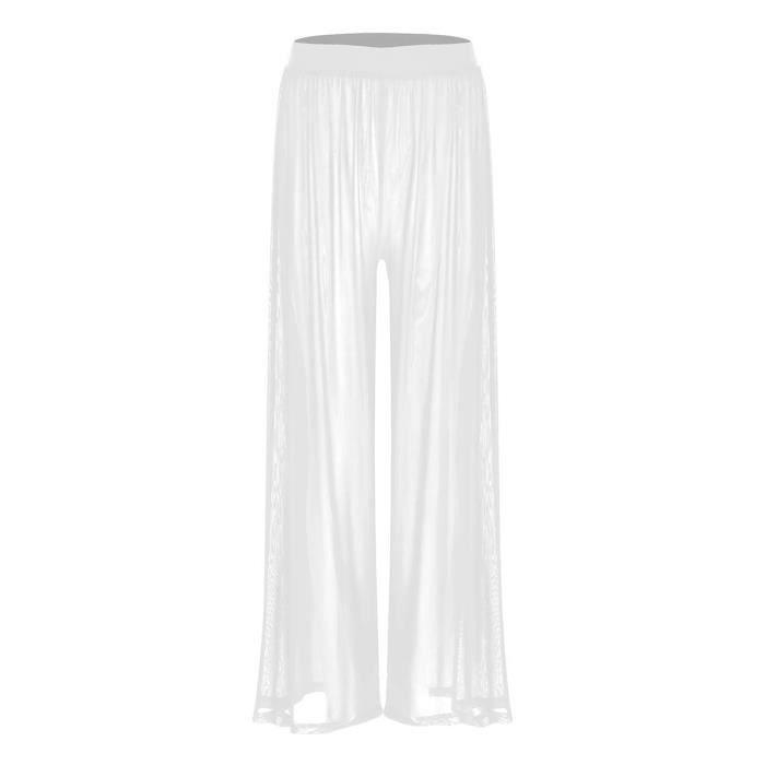 Pantalon Large Fluide Femme Transparent Taille Élastique Pantalon Yoga Ete Casual Plage S-XXL Blanc