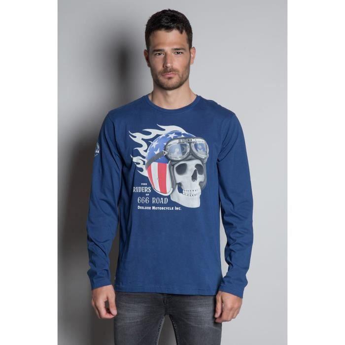 DEELUXE T-shirt tête de mort INSANITY Blue