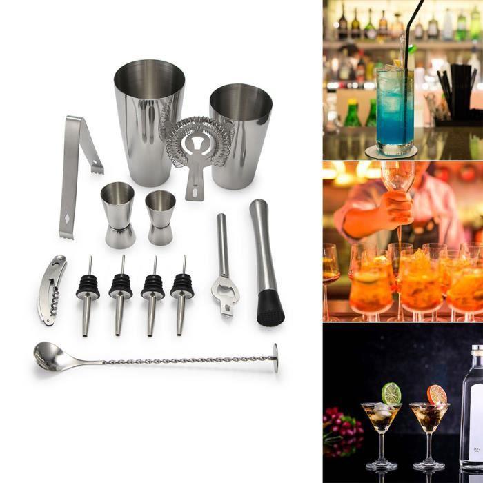 Kit De 13Pcs Cocktail Professionnel - Shaker À Cocktail Vec Shaker Acier Inoxydable 800Ml