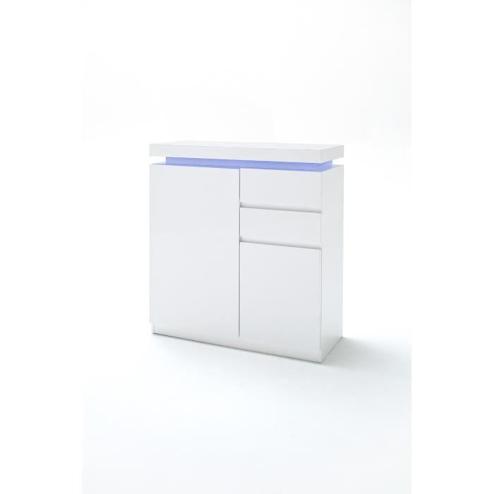 meuble a chaussures avec LED en laque blanc brillant avec decor beton - L91 x H97 x P38 cm