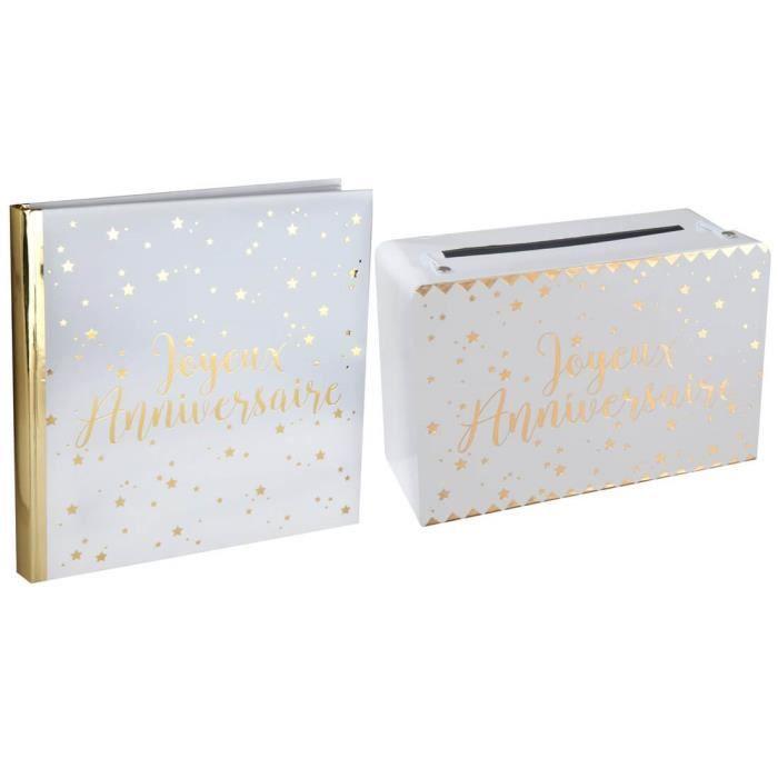 R/5664-5671- 1 Pack anniversaire urne et livre d'or blanc et or