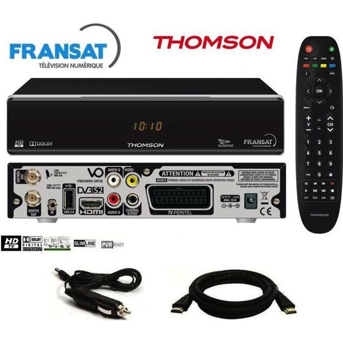 Pack récepteur Thomson THS805 HD + Carte Fransat + Câble 12V + Câble HDMi Offert - Décodeur TNT Satellite Camping Car