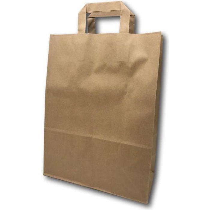100 Sacs Papier taille moyenne kraft écru avec poignée 11 litres largeur 26 cm, hauteur 35 cm, soufflet 12- sac cabas à anse plate s