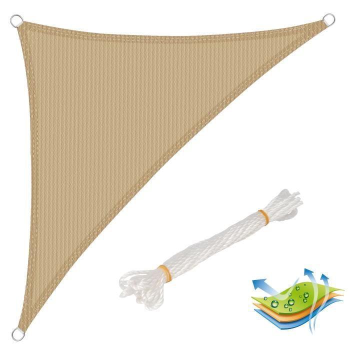 WOLTU Voile d'ombrage triangulaire en HDPE,protection contre le soleil avec protection UV pour jardin-terrasse, 2.5x2.5x3.5 m, Sable