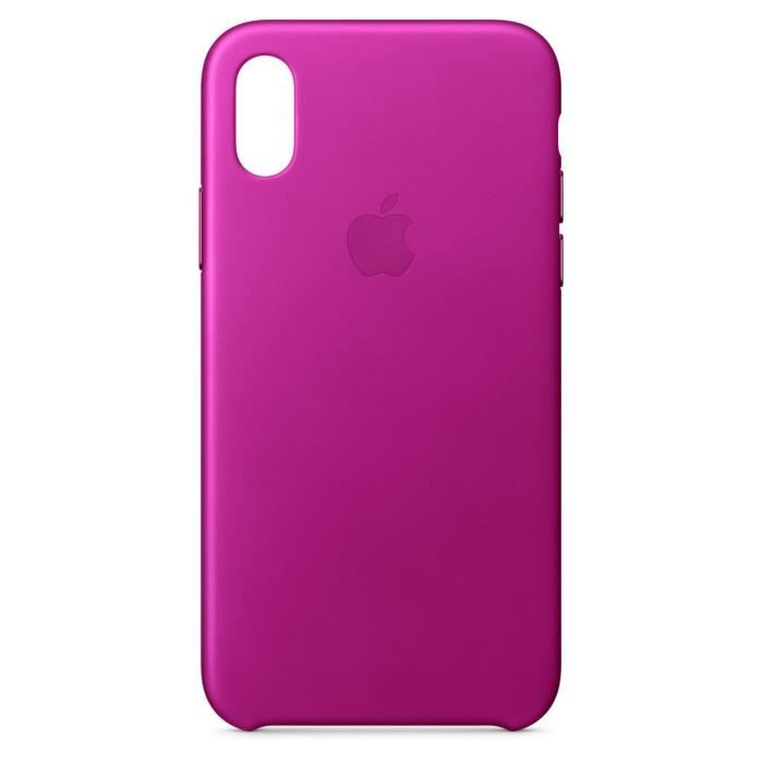 coque apple iphone x leather case pink fuchsia