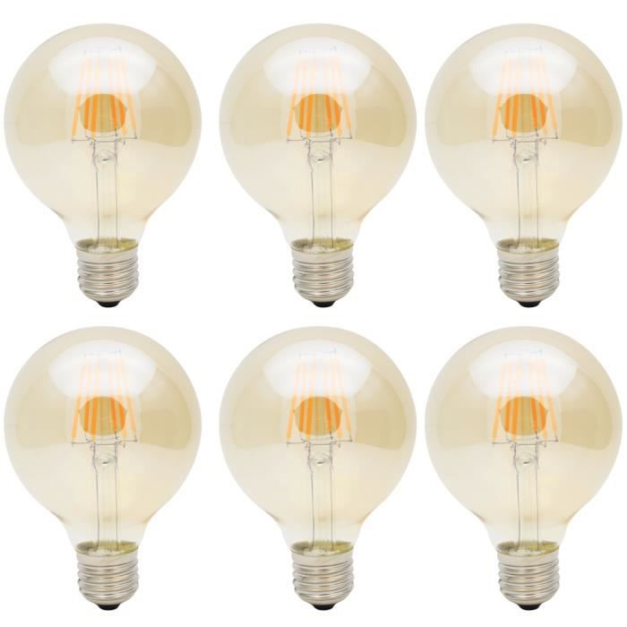 6x e27 ampoule edison 6w lampe filament led edison retro g80 ampoule vintage cob blanc chaud. Black Bedroom Furniture Sets. Home Design Ideas
