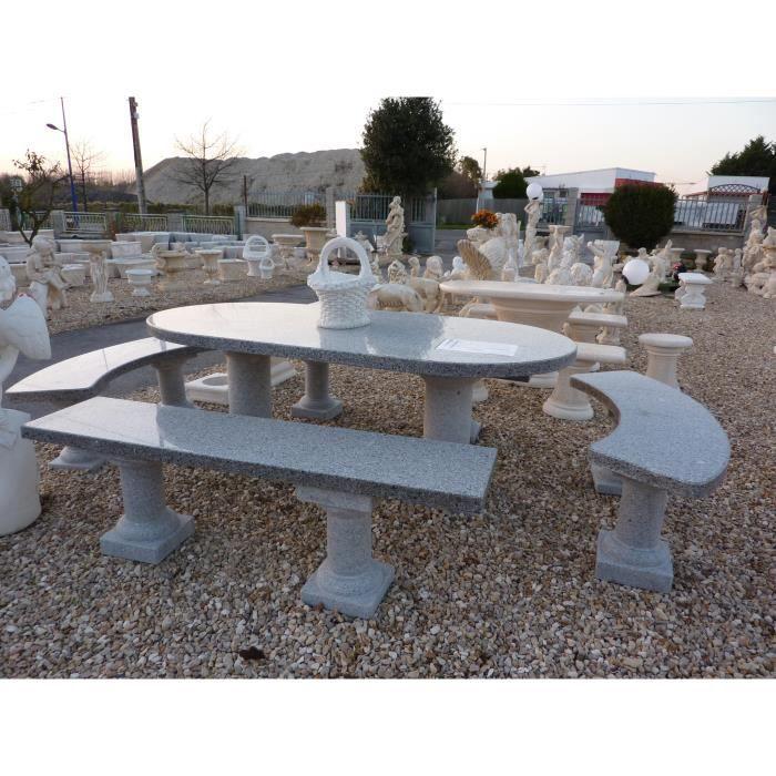 SALON DE JARDIN  ENSEMBLE TABLE ET BANC EN GRANIT CINZA