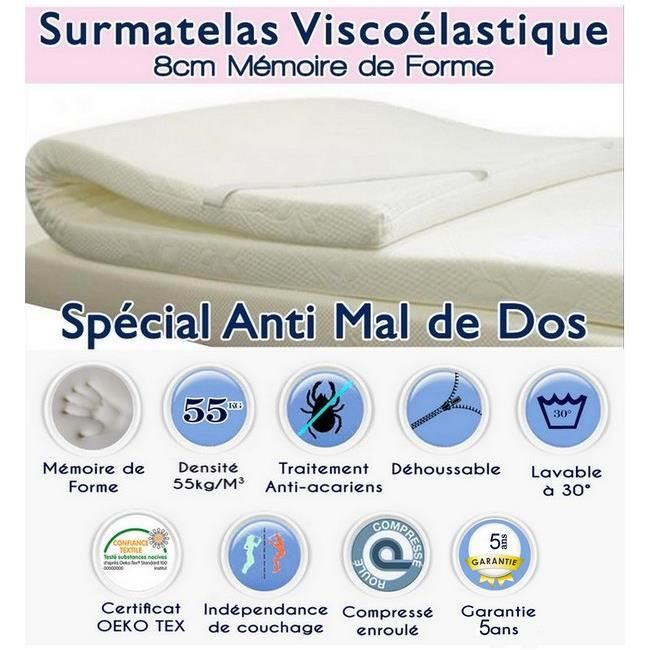 surmatelas a memoire de forme 70x190 achat vente sur. Black Bedroom Furniture Sets. Home Design Ideas