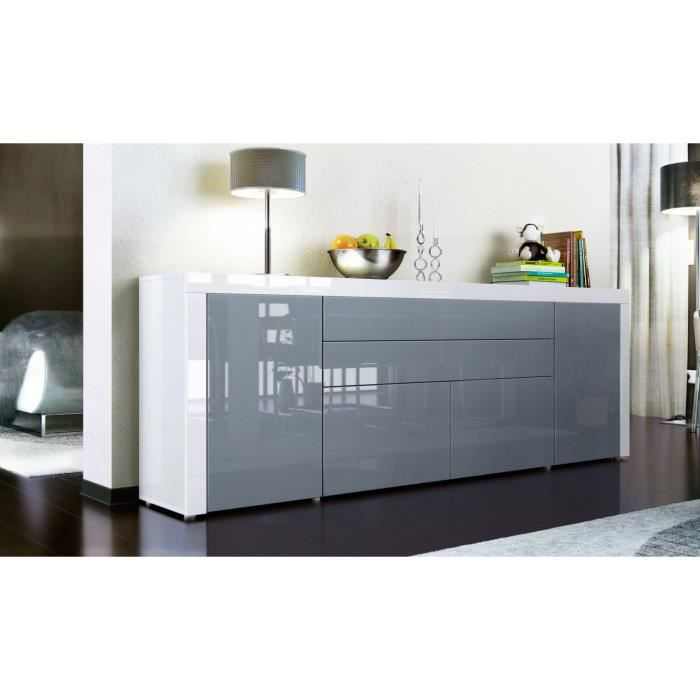buffet enfilade blanc gris blanc 200 cm achat. Black Bedroom Furniture Sets. Home Design Ideas