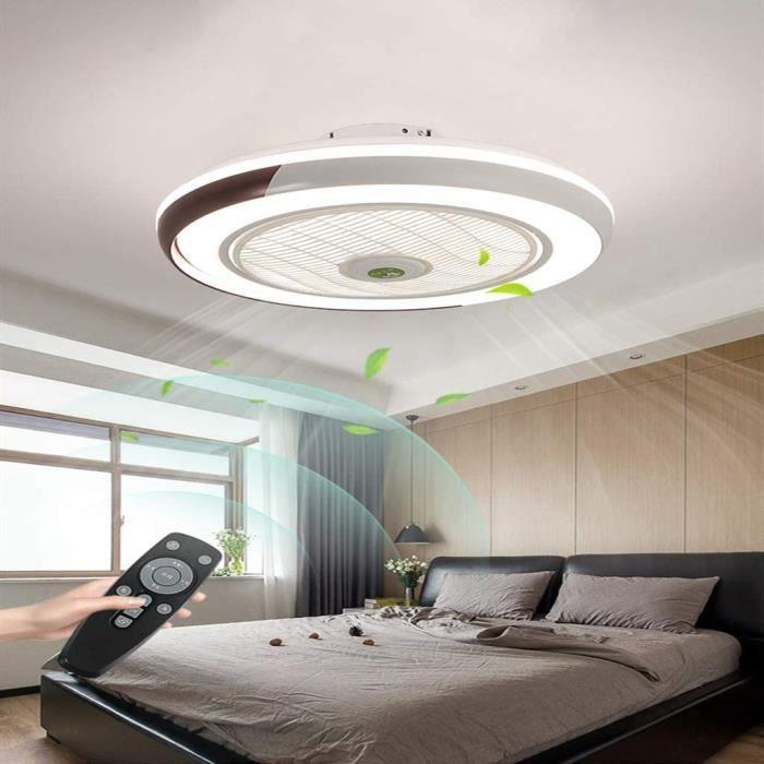 Ventilateur De Plafond Avec Lampe Creative Invisible Fan LED Plafonnier T/él/écommande Dimmable Ultra-Silencieux Can Timing Fan Lustre Chambre Enfants Ventilateur Lampe,Bleu