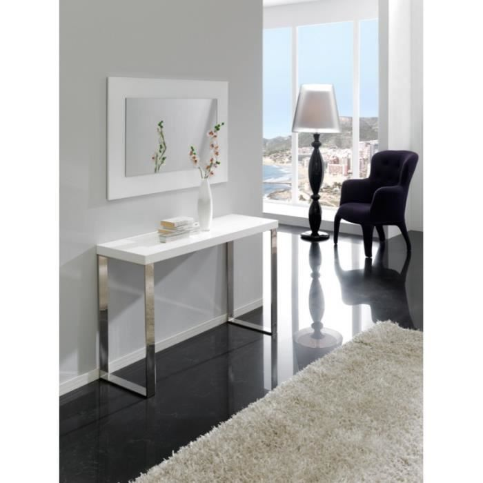 console lena en bois laqu blanc brillant et pieds chrom s l 120 x l 40 x h 70 achat vente. Black Bedroom Furniture Sets. Home Design Ideas