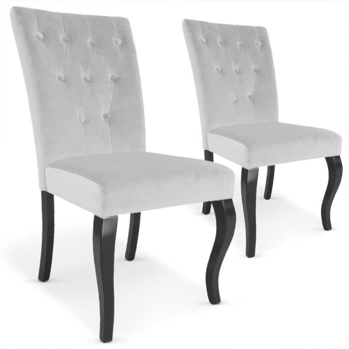 lot de 2 chaises beata gris achat vente chaise velours cdiscount. Black Bedroom Furniture Sets. Home Design Ideas