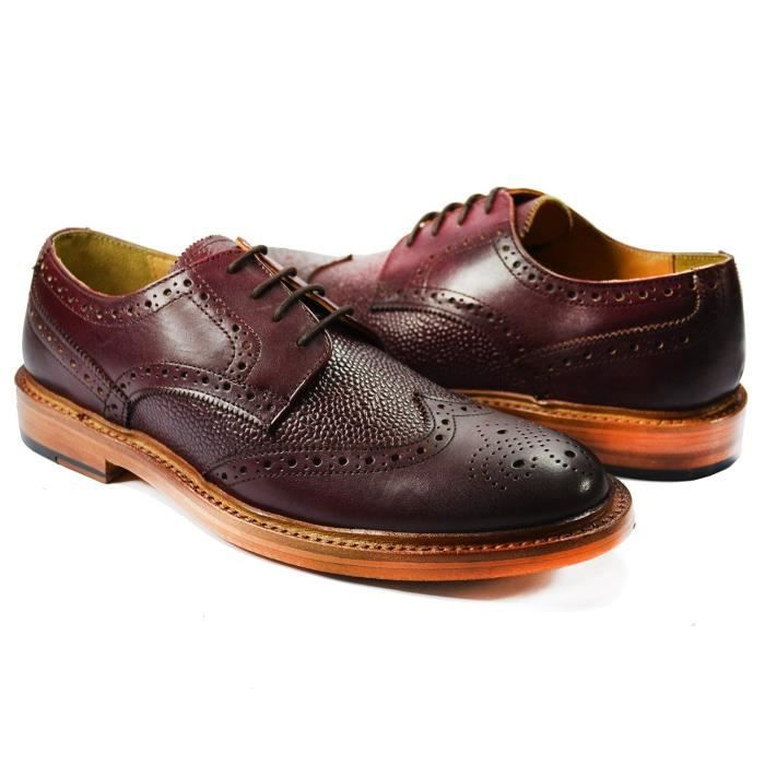 Chaussures Oxford Dress. Bourgogne . 100% cuir E69UO Taille-43