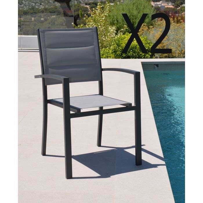 FAUTEUIL JARDIN  Lot de 2 fauteuils en aluminium et texaline colori