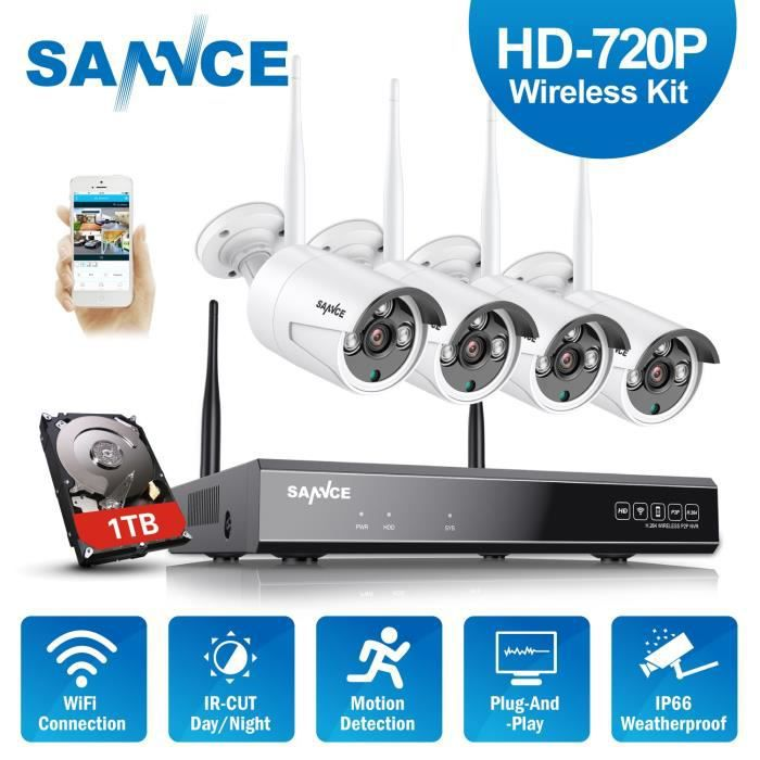 Kit cam ra de surveillance sans fil ext rieur 4ch nvr hd for Video surveillance exterieur sans fil
