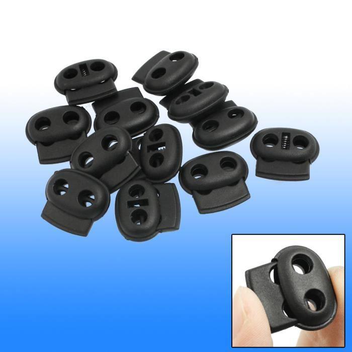SODIAL R 40 x Serrure de cordon a ressort de double trou en plastique noir