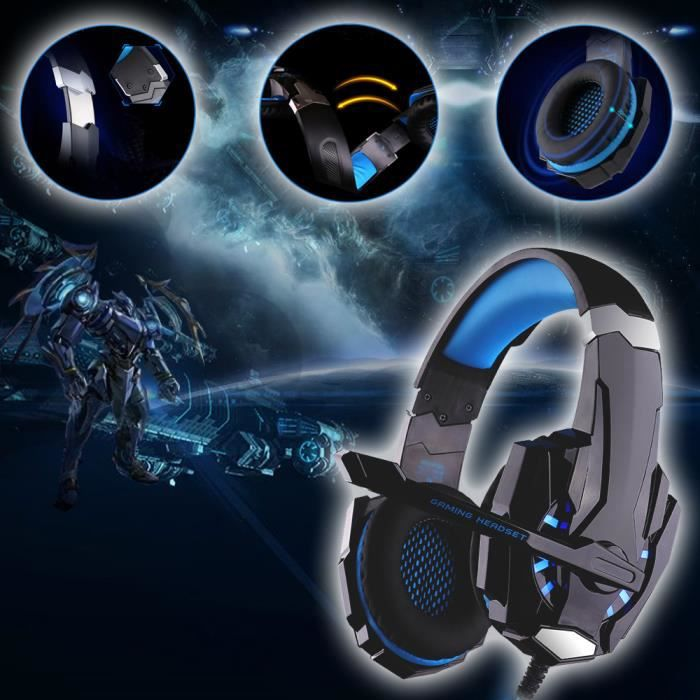 usiful bleu casque gamer ps4 7 1 pour jeux casque. Black Bedroom Furniture Sets. Home Design Ideas