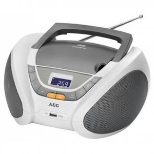 AEG SR 4358CD WH Radio CD MP3 USB Aux-In LCD - Blanc