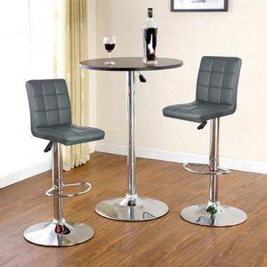 TABOURET DE BAR 2x tabouret de bar,Gris chaise de bar PU Hauteur r