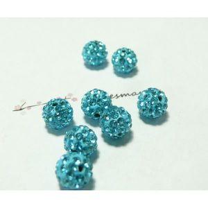 10pc Perles Shamballas Résine 10x8mm Bleu Turquoise N°3  4558550007315