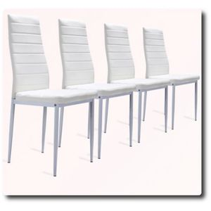 CHAISE Lot de 4 Chaises Blanches ultra-confort