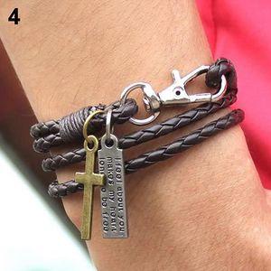 BRACELET - GOURMETTE Bracelet en similicuir vintage pour homme avec pen