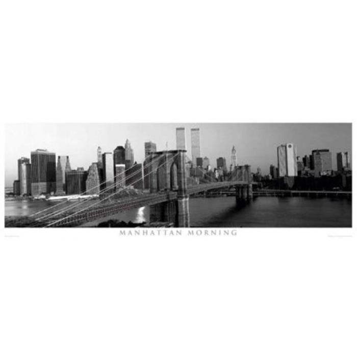 New york poster de porte manhattan le matin achat for Decoration porte new york