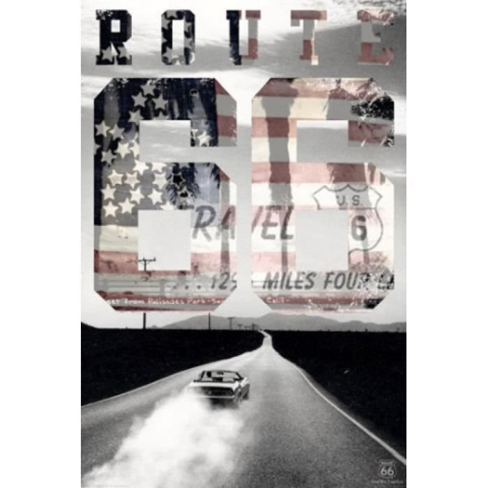 Route 66 poster usa 91 x 61 cm achat vente affiche for Decoration murale route 66