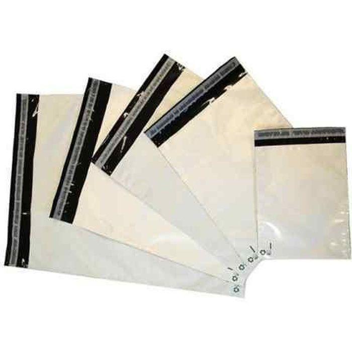 Lot de 100 enveloppes plastiques blanches opaques 260x350 mm, sachets d'expédition 26x35 cm 60 microns