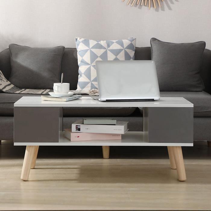 Mixmest® Table basse Style scandinave - bois - blanc et gris!!!