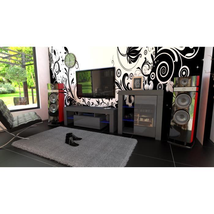 Ensemble de meubles noir mat et façades laquées + led RGB
