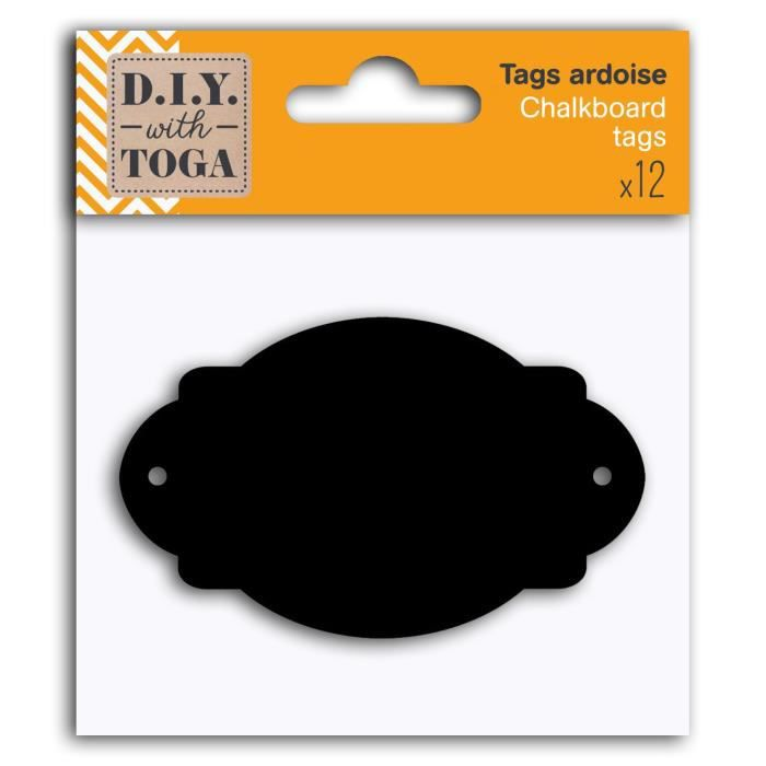 D.I.Y WITH TOGA 12 Tags Ardoise - Ovales Baroques