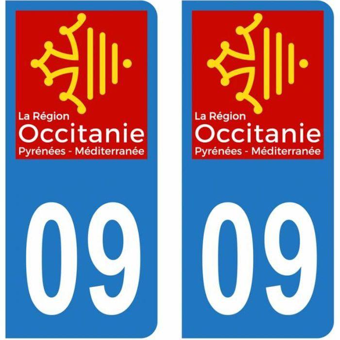 Lot 2 Autocollants Stickers plaque immatriculation voiture auto département 09 Ariège Logo Région Occitanie