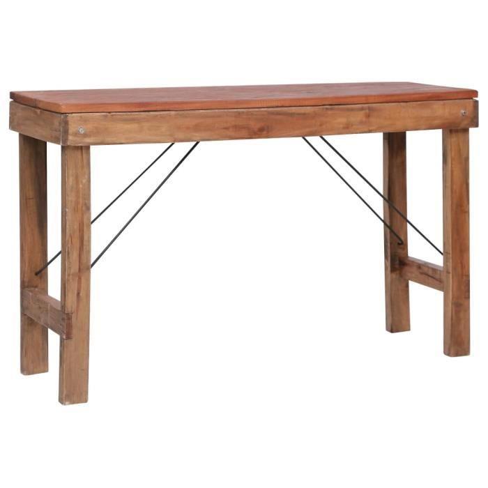 Luxueux Magnifique Table console style industriel - Table d'appoint - Table Café - pliable 130x40x80 cm Bois solide de récupération