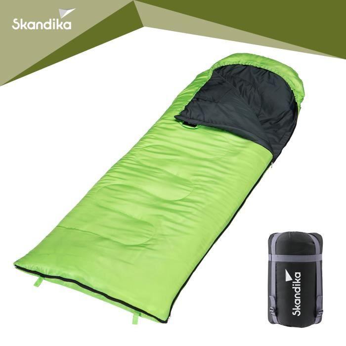Skandika Skye - Sac de Couchage Rectangulaire - 220x75 cm - Jumelable - Vert -Zip Droit