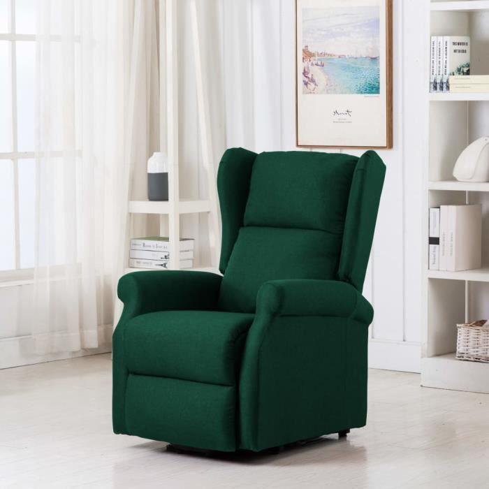 Fauteuil électrique Fauteuil de massage inclinable Vert Tissu
