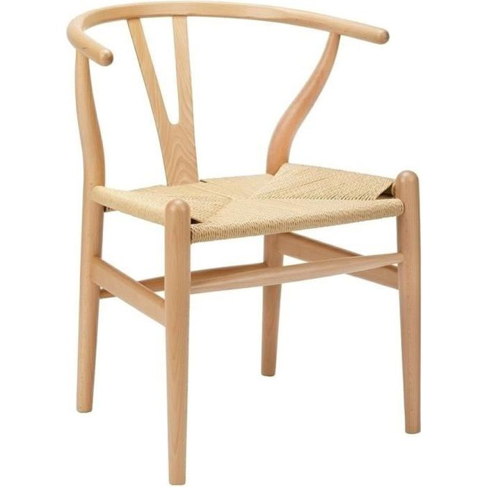 Chaise naturelle WISHBONE - bois de hêtre, fibre naturelle